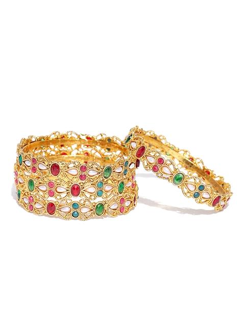YouBella Set of 4 Gold-Toned Stone-Studded Bangles