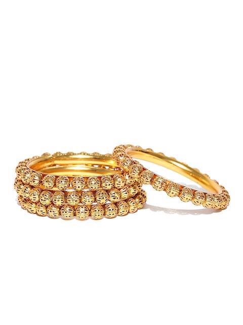 YouBella Set of 4 Gold-Toned Textured Bangles
