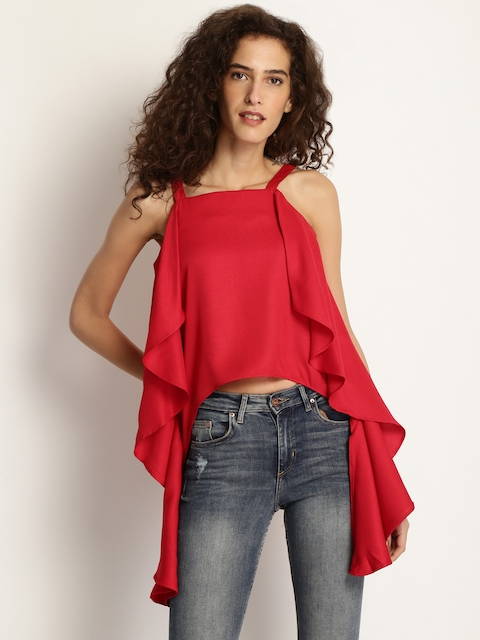 Marie Claire Women Red Solid High-Low Top