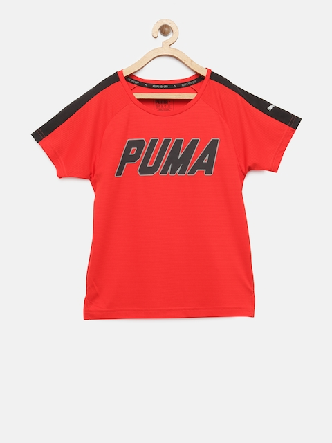 Puma Boys Red Gym Graphic Printed Round Neck T-shirt