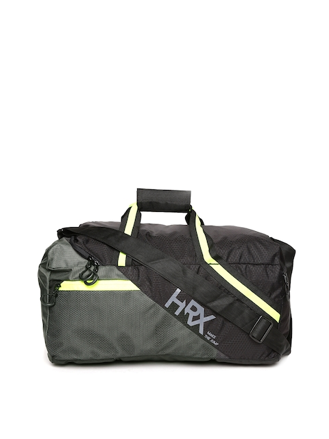 HRX by Hrithik Roshan Unisex Black & Grey Colourblocked Training Duffel Bag
