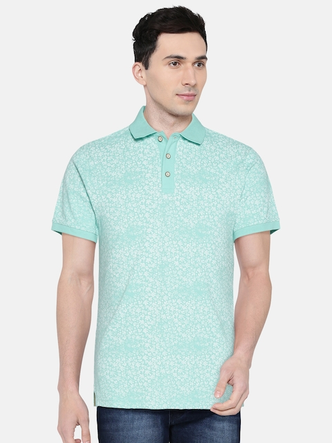 United Colors of Benetton Men Blue Printed Polo Collar T-shirt