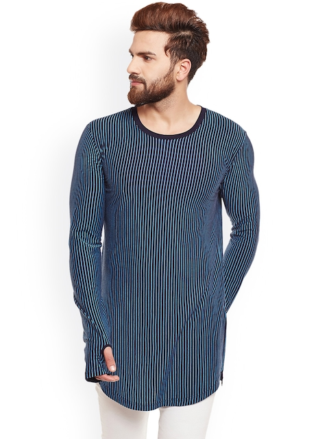 Hypernation Men Navy Blue Striped Round Neck T-shirt