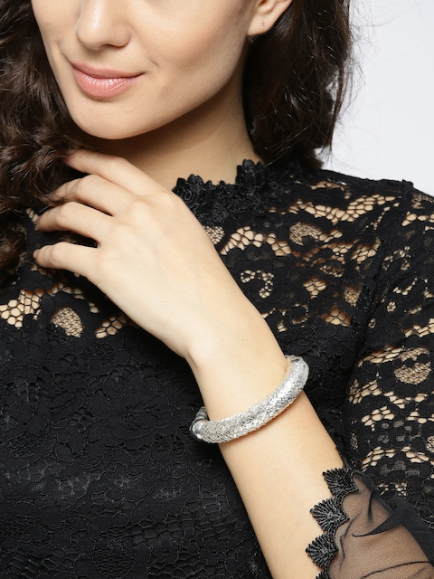 Priyaasi Silver-Plated Textured Bangle-Style Bracelet