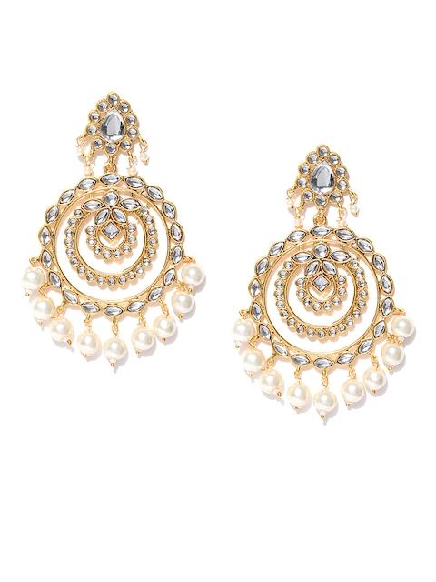 Zaveri Pearls White Gold-Plated Classic Chandbalis