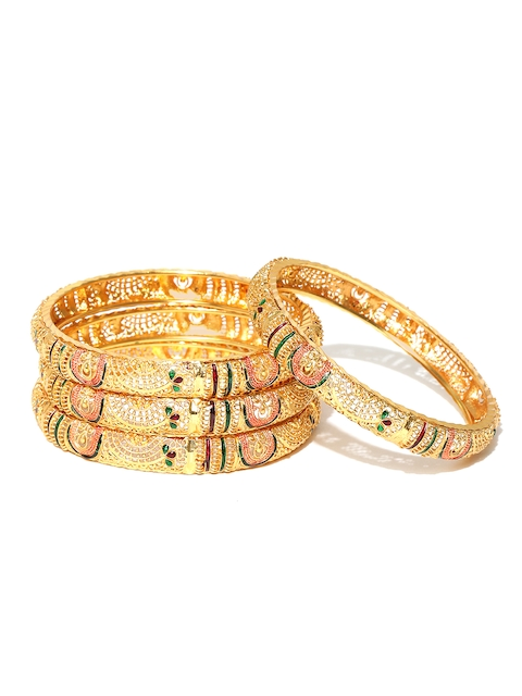 Jewels Galaxy Set of 4 Gold-Toned & Green Textured Bangles