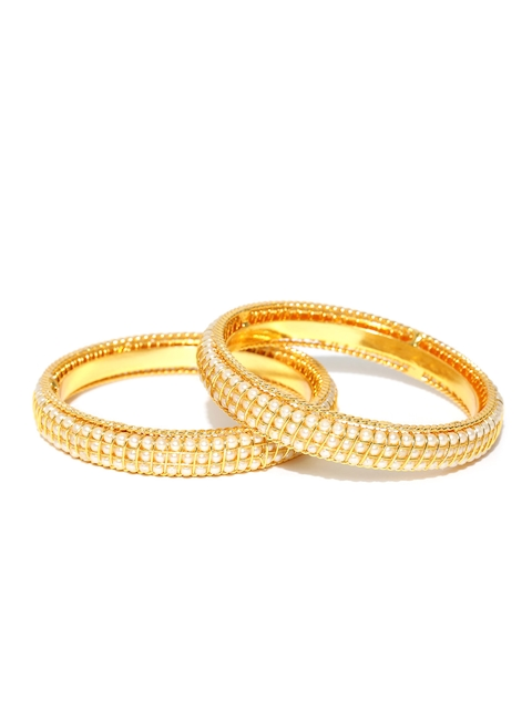 Jewels Galaxy Set of 2 Gold-Toned & Off-White Beaded Bangles