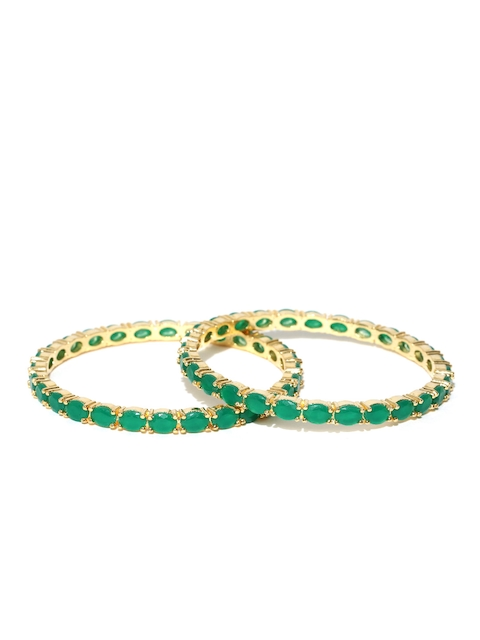 Jewels Galaxy Set of 2 Gold-Toned & Green Stone-Studded Bangles