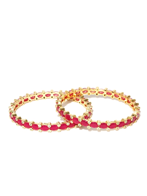 Jewels Galaxy Set of 2 Gold-Toned & Pink Stone-Studded Bangles
