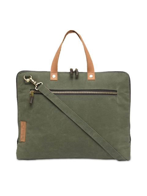 The House of Tara Unisex Green Solid Laptop Bag