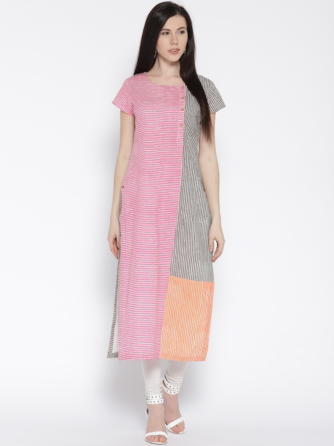 Varanga Women Pink & Grey Striped Straight Kurta