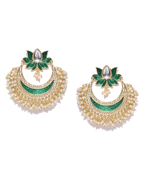 PANASH Green & Off-White Gold-Plated Handcrafted Crescent-Shaped Chandbalis