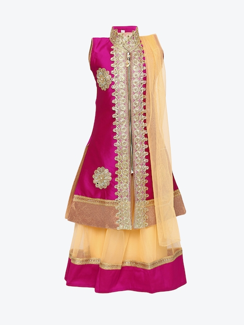 Aarika Girls Pink & Cream-Coloured Embroidered Ready to Wear Lehenga & Blouse with Dupatta