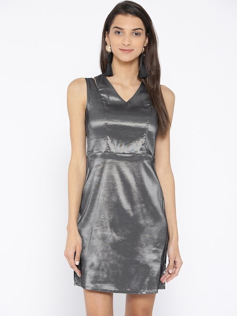 AND Women Charcoal Grey Solid Sheath Dress