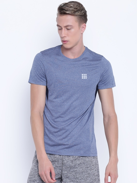 rock.it Men Blue Solid Round Neck T-shirt