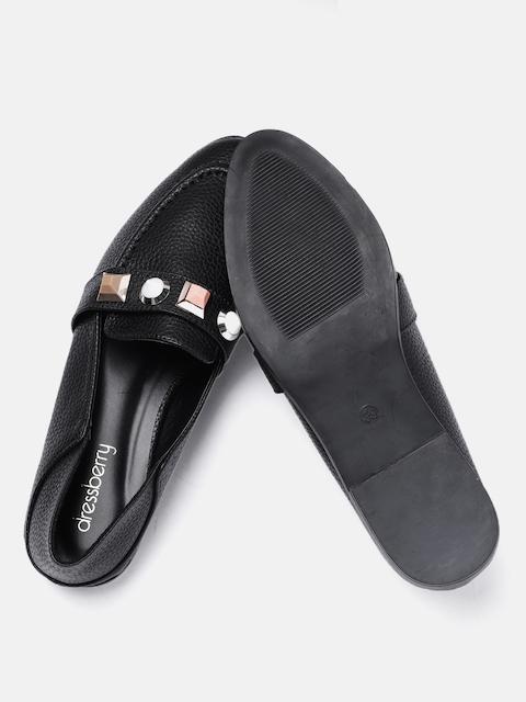 DressBerry Women Black Embellished Synthetic Flats