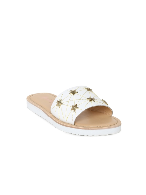 Aria Nica Girls Off-White Embellished Open Toe Flats