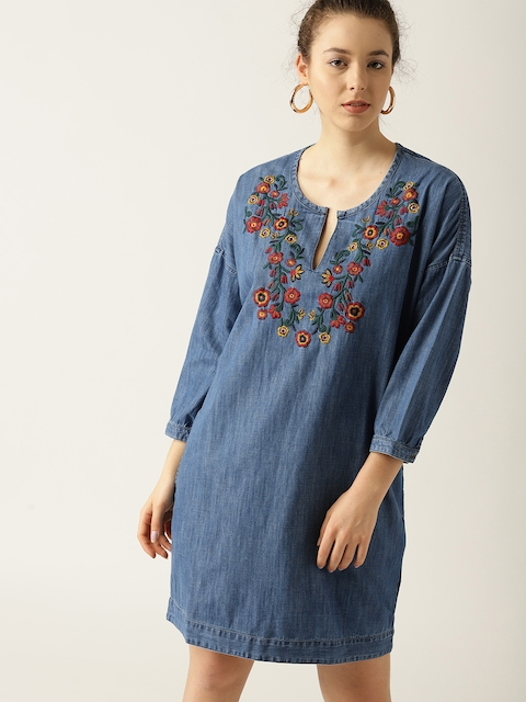 ESPRIT Women Blue Solid Denim A-Line Dress