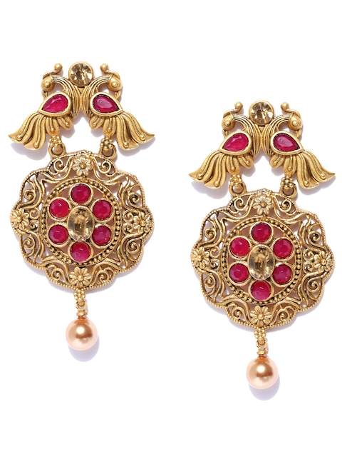 PANASH Gold-Toned Gold Plated & Red Peacock Shaped Drop Earrings