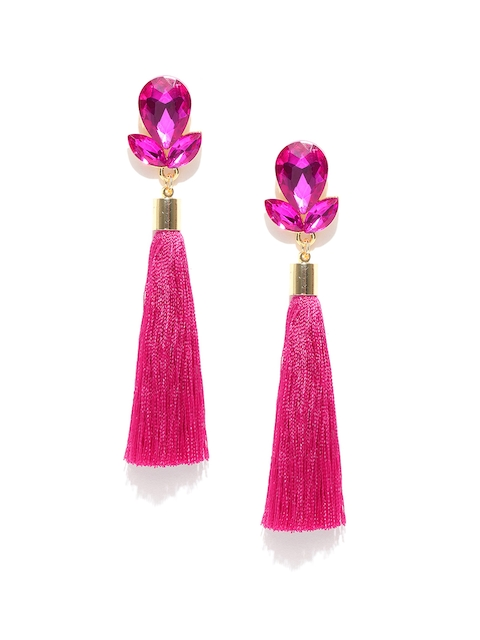 Jewels Galaxy Pink Gold-Plated Stone-Studded Tasselled Drop Earrings
