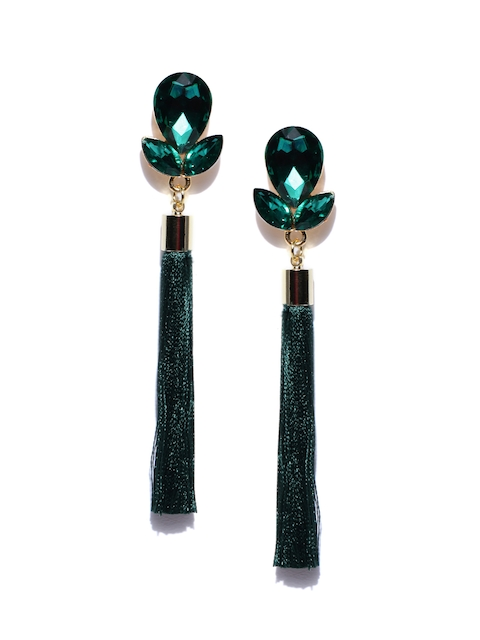Jewels Galaxy Green Gold-Plated Tasselled Contemporary Drop Earrings