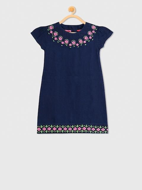 Cherry Crumble Girls Navy Blue Printed A-Line Dress