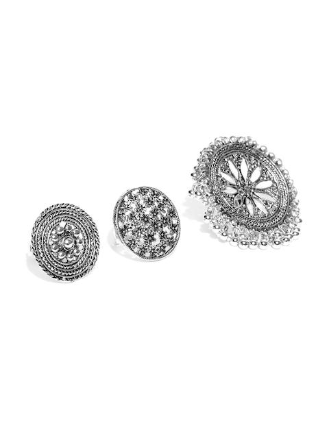 Zaveri Pearls Women Set of 3 Oxidised Silver-Plated Adjustable Rings