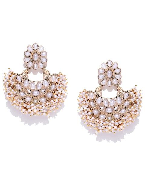 Zaveri Pearls Off-White Antique Gold-Plated Crescent Shaped Chandbalis