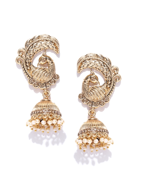 Zaveri Pearls Off-White Antique Gold-Plated Peacock Shaped Jhumkas