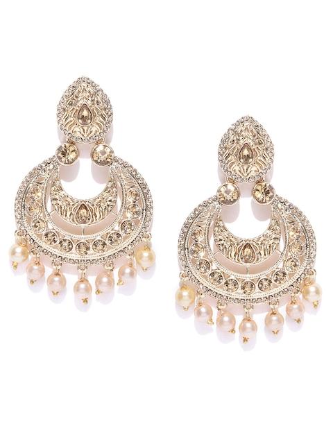 Zaveri Pearls Cream-Coloured Gold-Plated Crescent Shaped Chandbalis