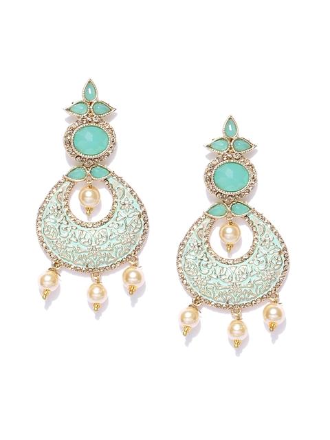 Zaveri Pearls Green & Off-White Gold-Pated Crescent Shaped Chandbalis