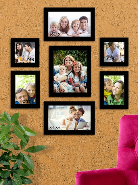 Art Street Black Solid Set Of 7 Wall Photo Frames
