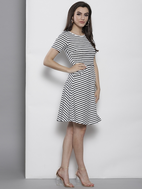 DOROTHY PERKINS Women Navy Blue & White Striped Fit & Flare Dress