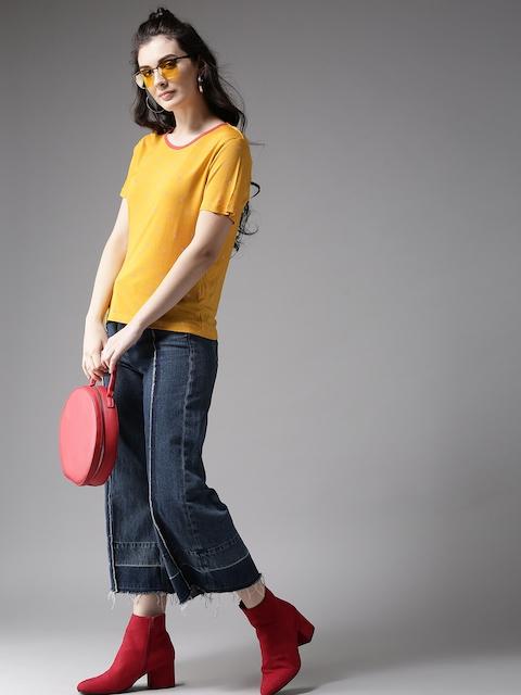 Moda Rapido Women Orange Printed Round Neck T-shirt