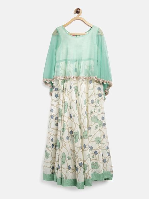 Biba Girls Off-White & Sea Green Printed Layered Empire Maxi Dress