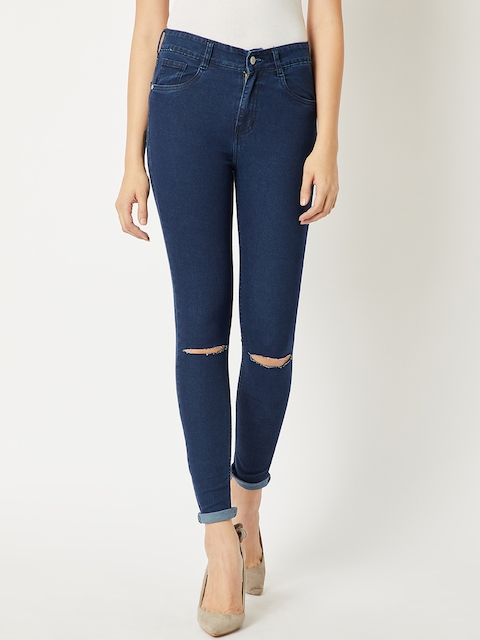 Miss Chase Women Navy Blue Skinny Fit High-Rise Slash Knee Jeans