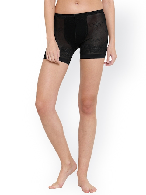 PrettyCat Women Black 4 in 1 High Waist Mid Thigh Shapewear PC-TT-54-BLK-S