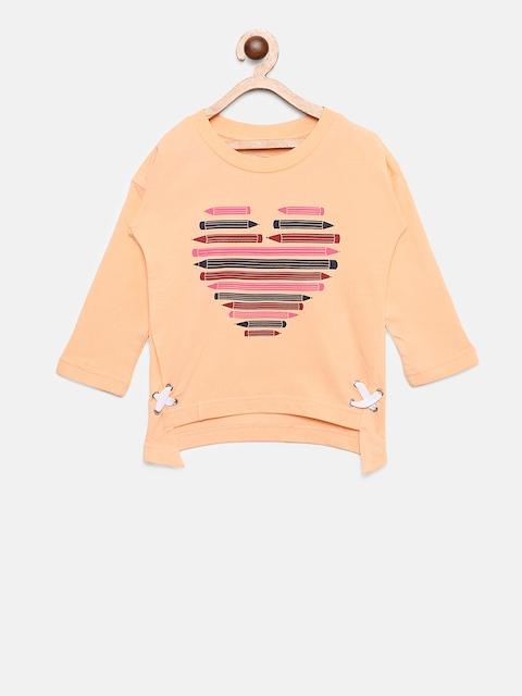 Palm Tree Girls Peach-Coloured Printed Sweatshirt