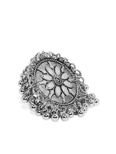 Zaveri Pearls Women Antique Silver-Toned Textured Adjustable Ring