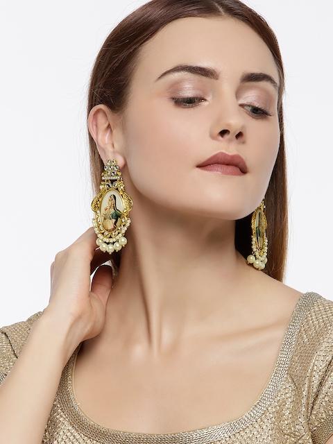 Zaveri Pearls Gold-Plated Oval Drop Earrings