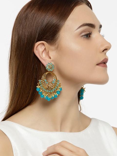 Zaveri Pearls Gold-Plated Crescent Shaped Chandbalis