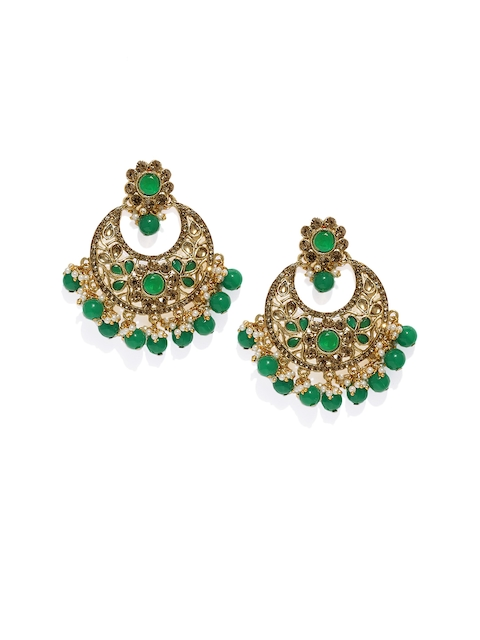 Zaveri Pearls Gold-Plated Crescent Shaped Drop Earrings