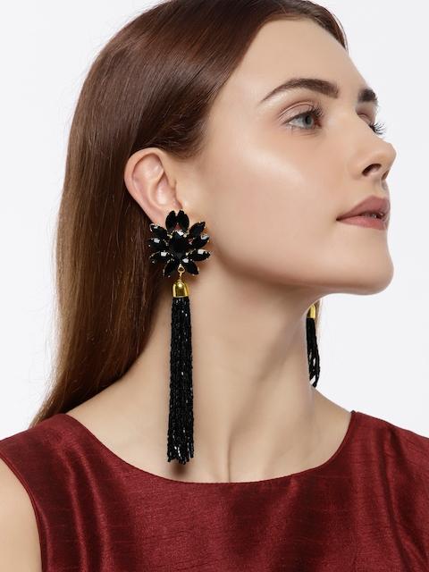 Zaveri Pearls Black & Gold Plated Floral Drop Earrings