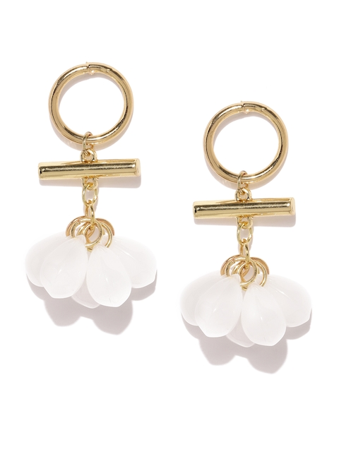 E2O White Teardrop Shaped Drop Earrings