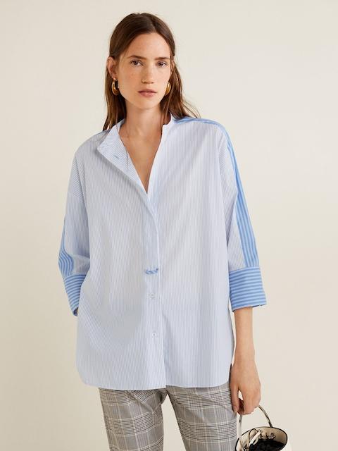 MANGO Women Blue & White Boxy Fit Striped Casual Shirt