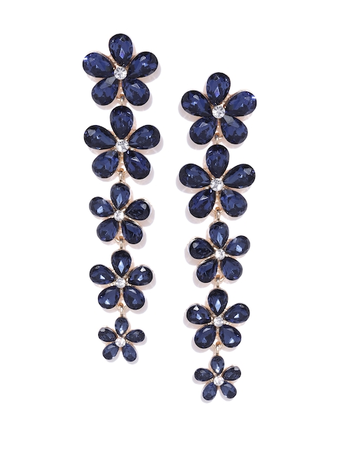 YouBella Navy Gold-Plated Stone-Studded Floral Drop Earrings