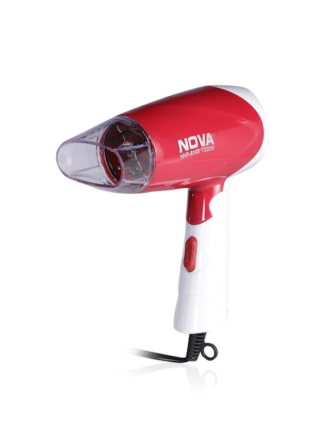 NOVA NHP-8103 Professional 1300 W Hot & Cold Foldable Hair Dryer - Red & White