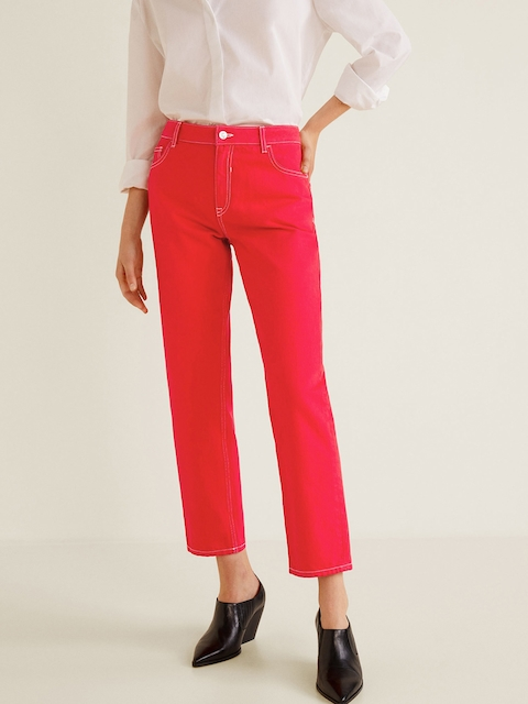 MANGO Women Red Regular Fit Mid-Rise Clean Look Cropped Jeans