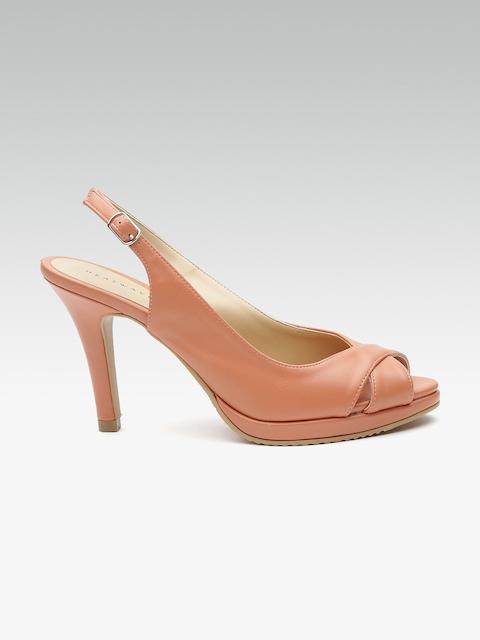 HEATWAVE Women Peach-Coloured Solid Peep Toes
