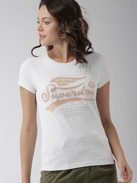 Superdry Women Grey Melange Printed Round Neck T-shirt